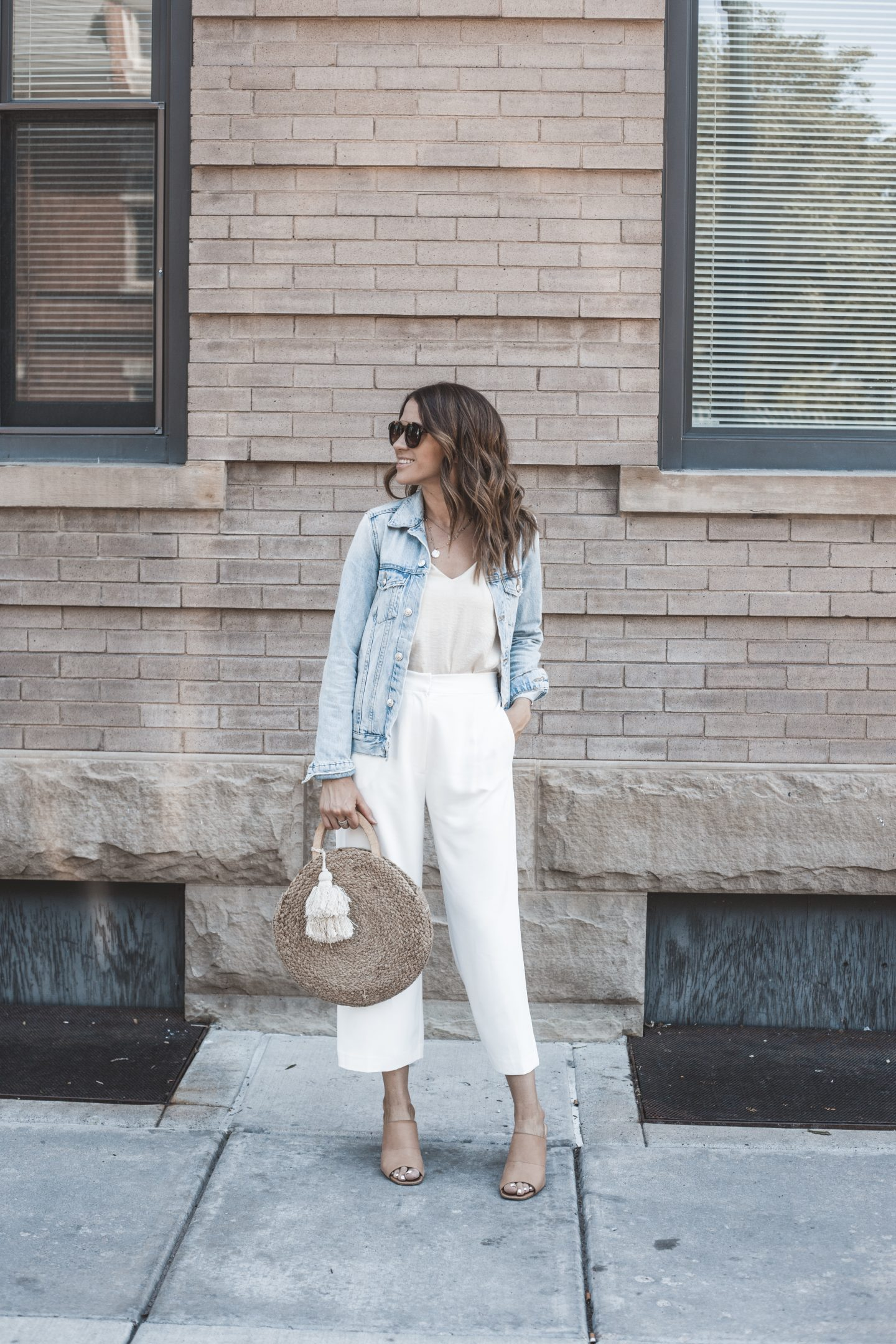 white pants 3 ways denim jacket