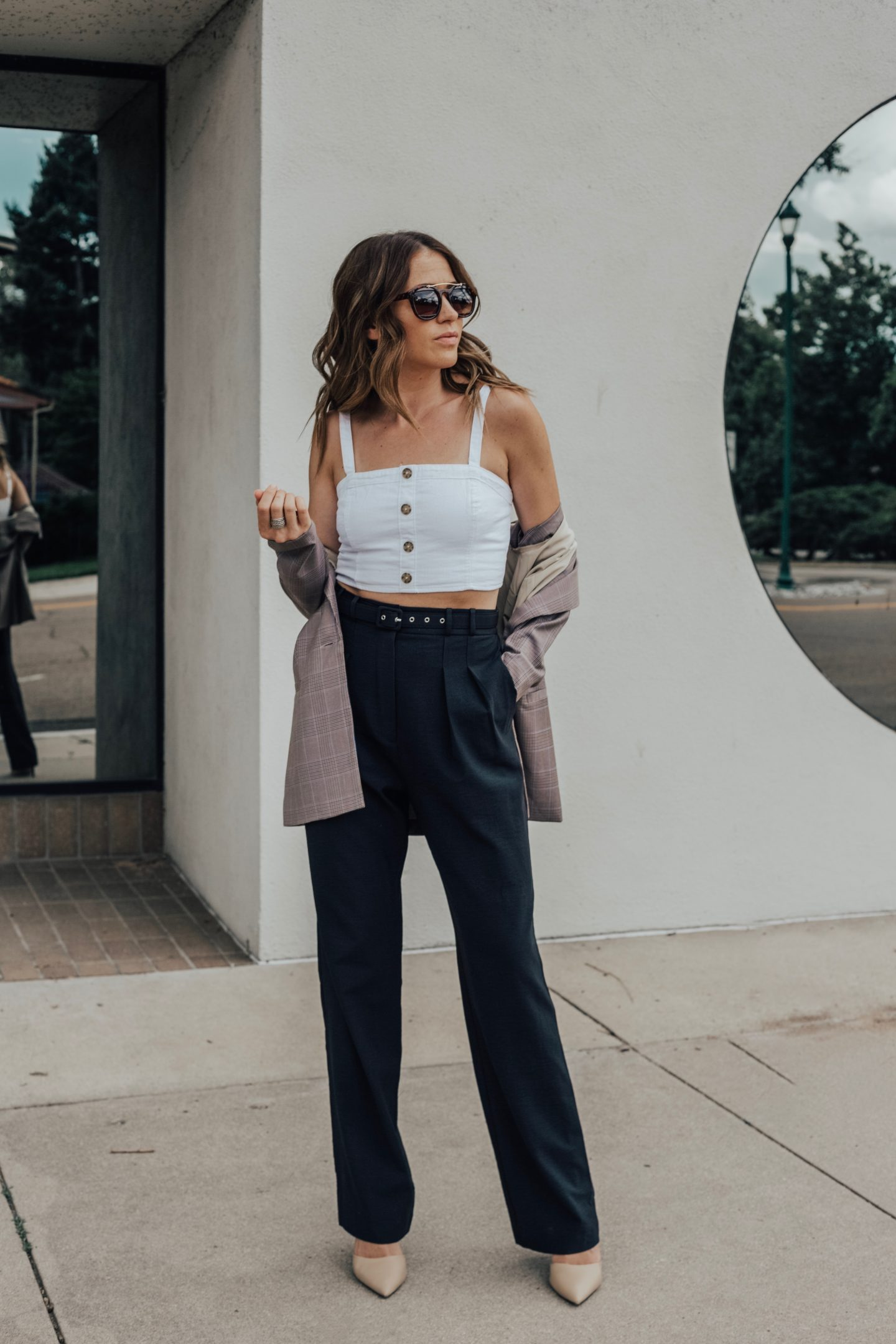 blazer crop top wide leg pants